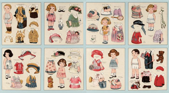 Aunt Lindy's Paper Dolls Dolls & Clothes Panel Multi
