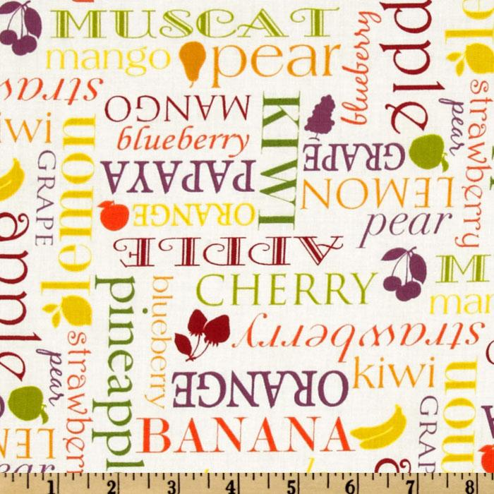 Farmer's Market Fruit Words Ivory
