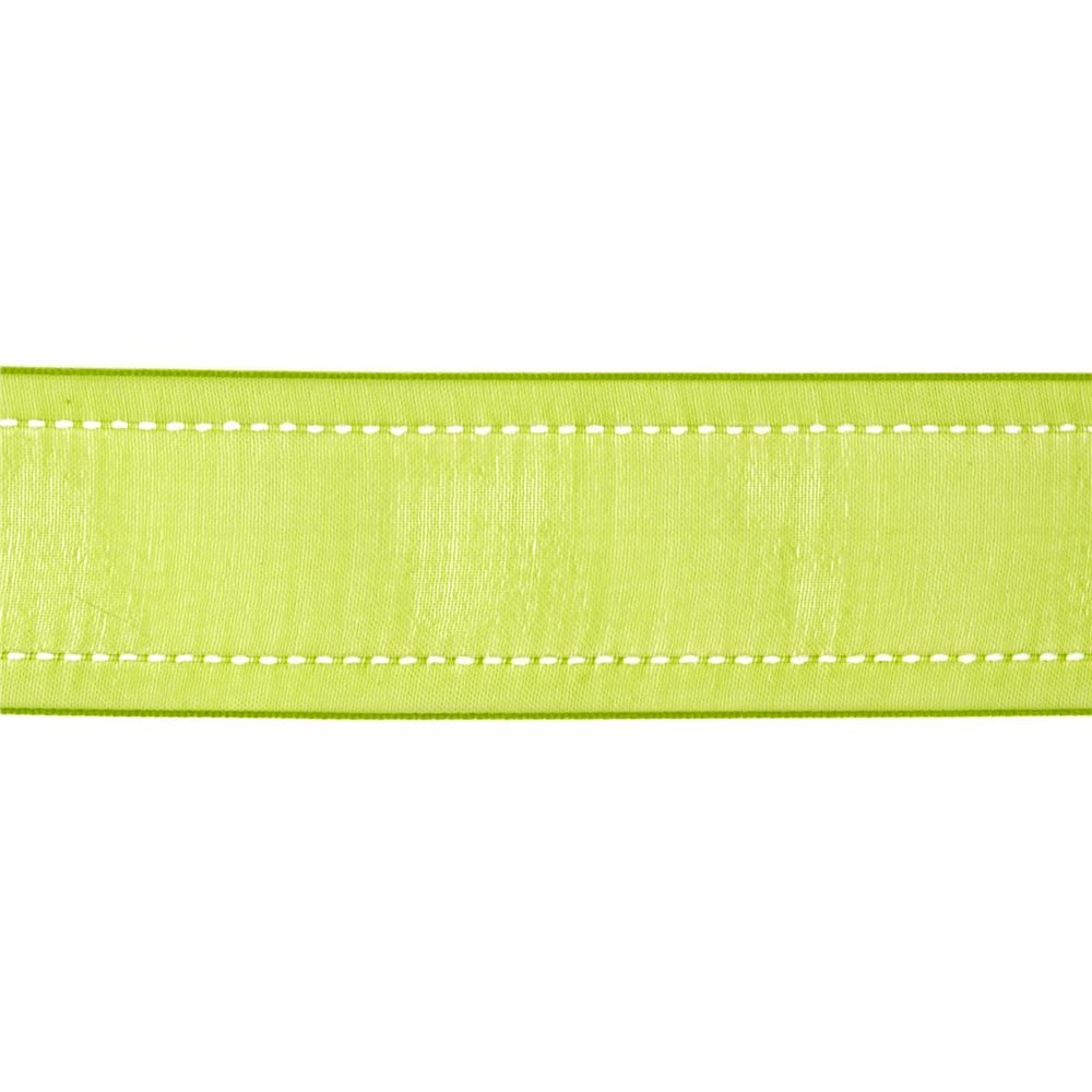 "1 1/2"" Sheer Stitched Edge Ribbon Celery Green"