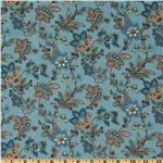 A E Nathan Vintage Floral Vines Blue