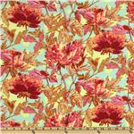 EK-822 Amy Butler Soul Blossoms Rayon Challis Twilight Peony Saffron