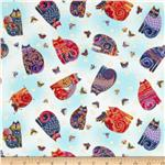 204439 Laurel Burch Fabulous Felines Sitting Cats & Butterflies Light Blue Metallic