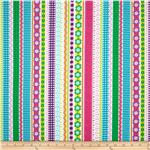 Michael Miller Busy Bee Small World Stripe Pink
