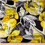 Designer Satin Charmeuse Floral Grey/Yellow