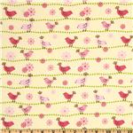 210329 Birdie Baby Flannel Nursery Birds Yellow/Pink