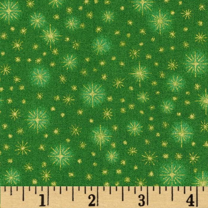 Season's Greeting Stars Green