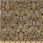La Scala 4 Floral Damask Metallic Gold/Antique