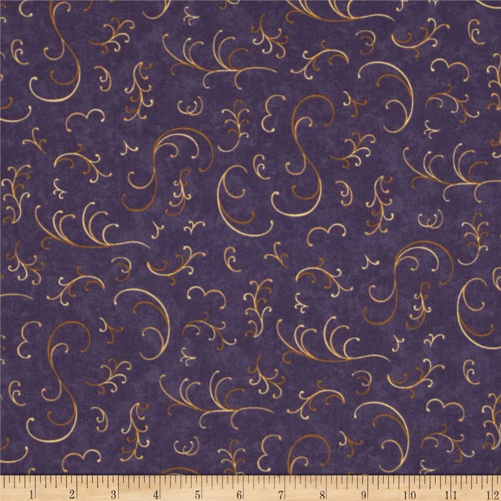 Moda Enchanted Pond Prints Curly Cues Purple Dusk