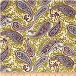 0268423 Esmeralda Metallic Paisley Dawn Beige