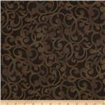 0284614 Filigree 108&quot; Wide Quilt Backing Brown
