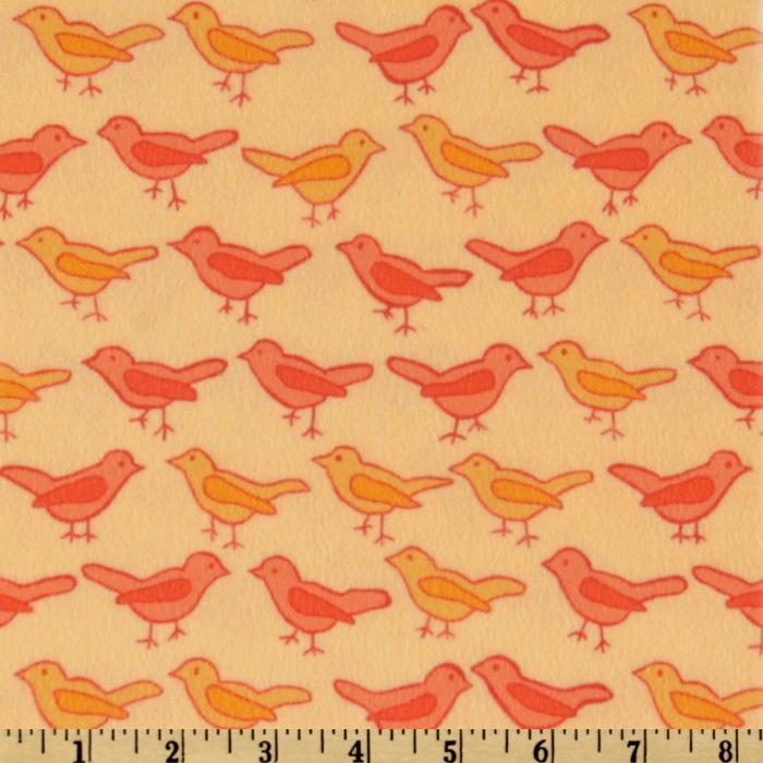 Bliss Flannel Birds Tangerine