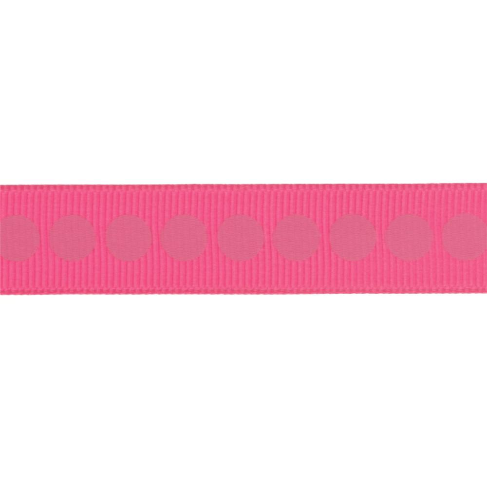 "Riley Blake 5/8"" Grosgrain Ribbon Polka Dot Hot Pink"