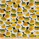 0289524 Timeless Treasures Food Deviled Eggs Black