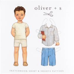 Oliver+ S Sketchbook Shirt & Shorts Pattern Sizes 6 months -3T+4