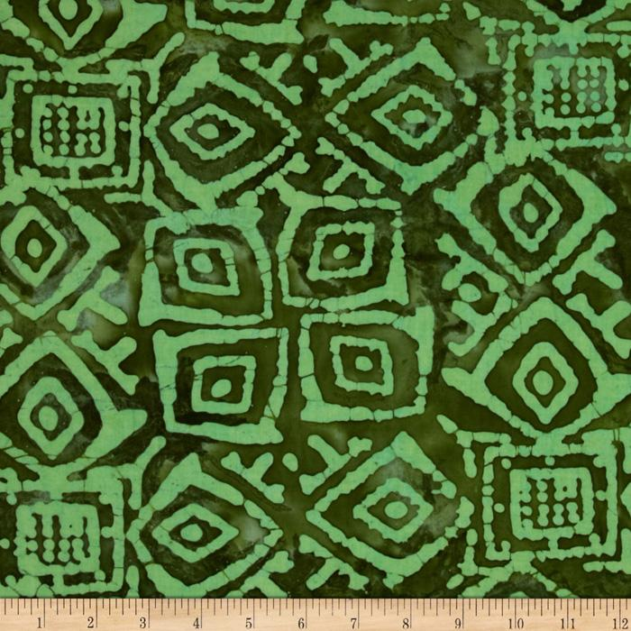 Indian Batik Block Patch Green