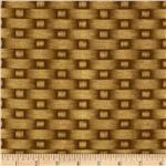 0301790 Timeless Treasures Flower Basket Weave Brown