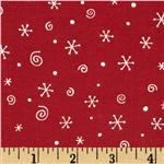 Polar Pals Flannel Snowflakes Maroon