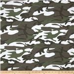 Novelty Printed Rayon Blend Jersey Knit Camo Olive
