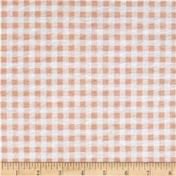 Jersey Knit Gingham Peach/White