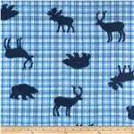 Fleece Tossed Forest Animals Blue Plaid