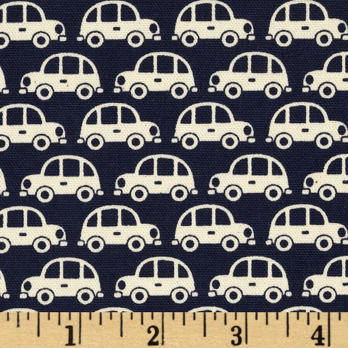 Kokka Trefle Oxford Cotton Canvas Cars Navy