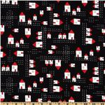 235947 The Red Thread Allover Houses Black