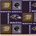 NFL Wide Cotton Broadcloth Baltimore Ravens Patchwork Purple/Gold