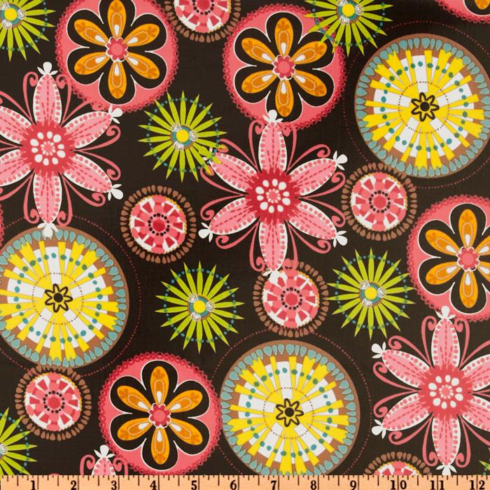 Michael Miller Laminated Cotton Carnival Blooms Brown