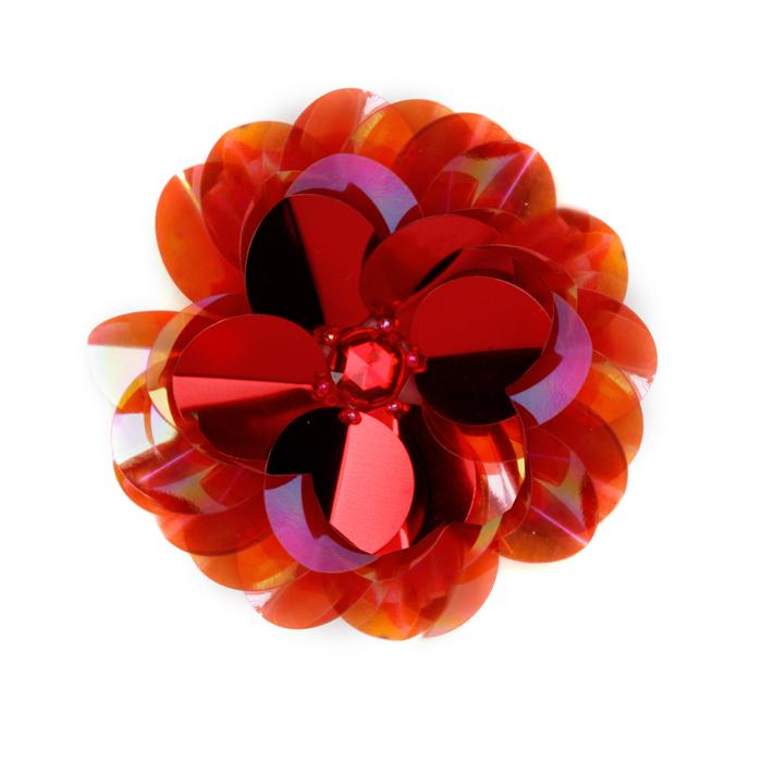 Vinyl Triple Layer Sequin Flower Applique Red