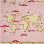 FV-399 Michael Miller Out To Sea Nautical Map Pink