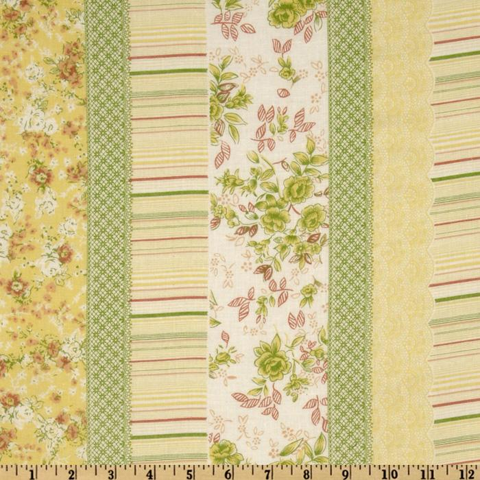 Cotton Voile Floral Stripes Yellow