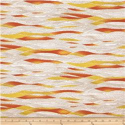Stretch Rayon Jersey Knit Abstract Stripes White/Orange/Yellow