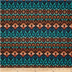 Designer Stretch Jersey Knit Abstract Ikat Teal/Orange