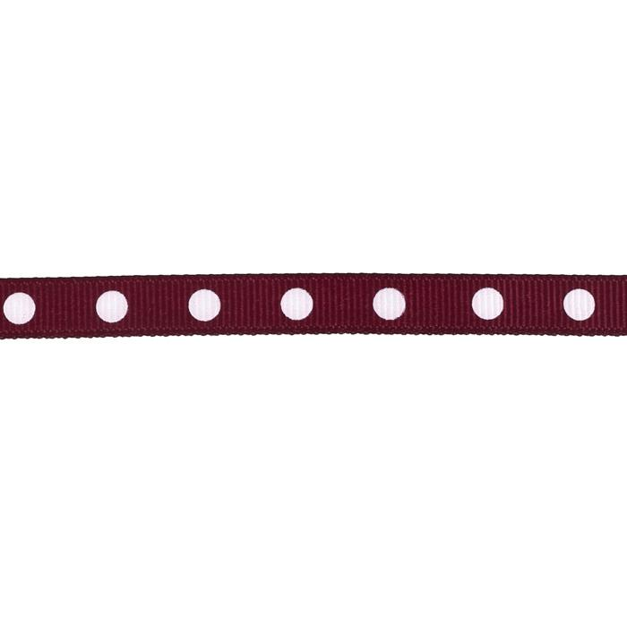 3/8&quot; Grosgrain Ribbon Dot White/Burgundy
