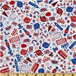 Timeless Treasures London Motifs Red/White/Blue