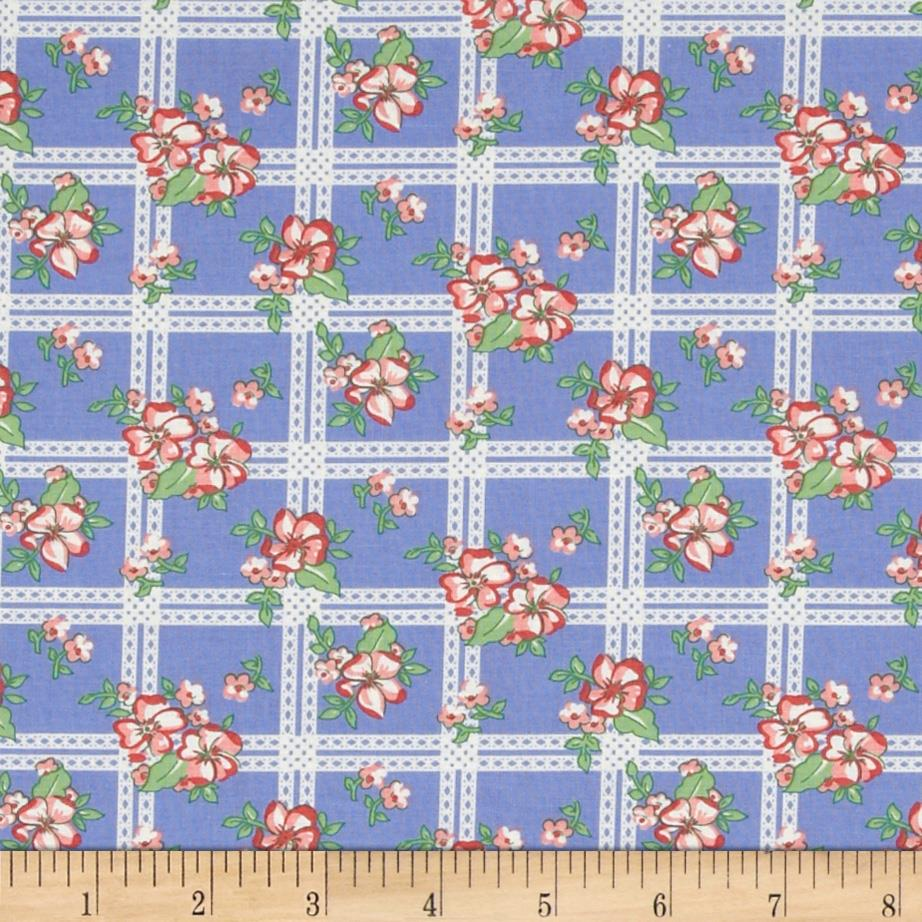 Aunt Grace First Place Floral Plaid Blue