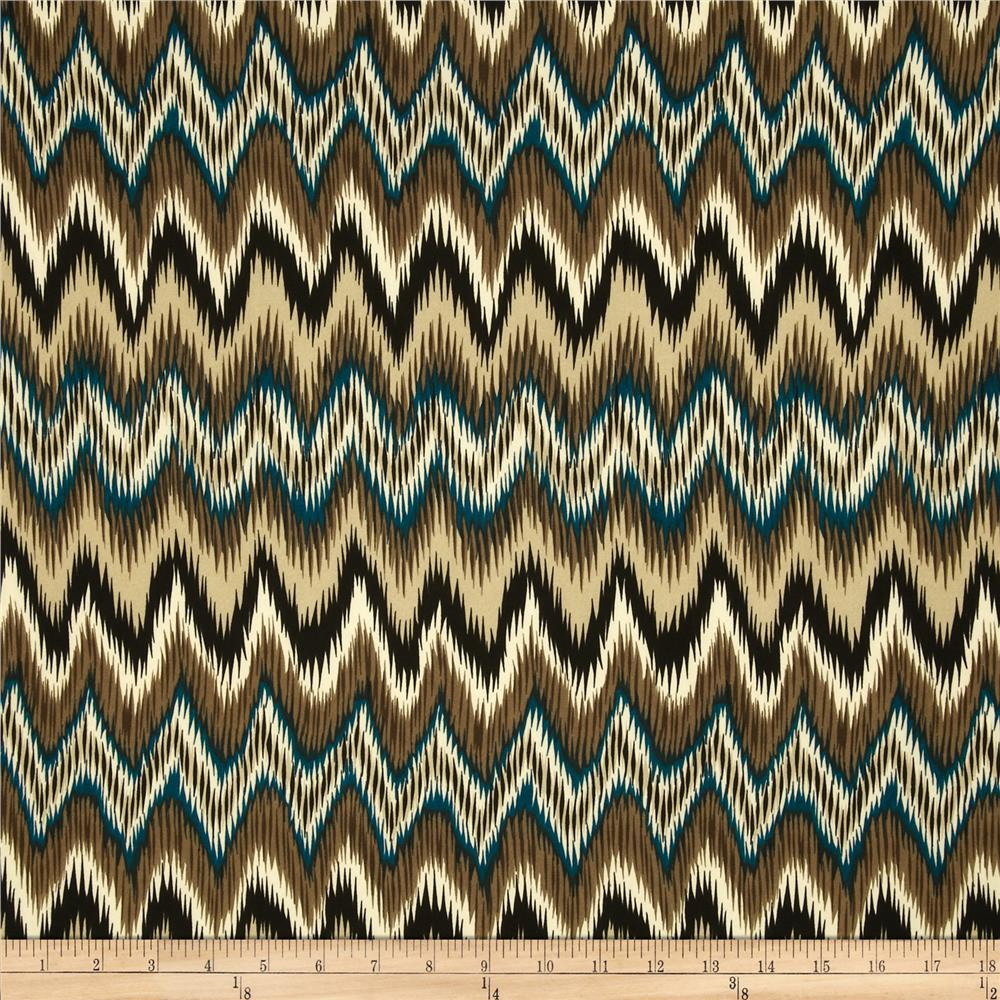 Maya ITY Jersey Knit Chevron Royal Tan/Teal