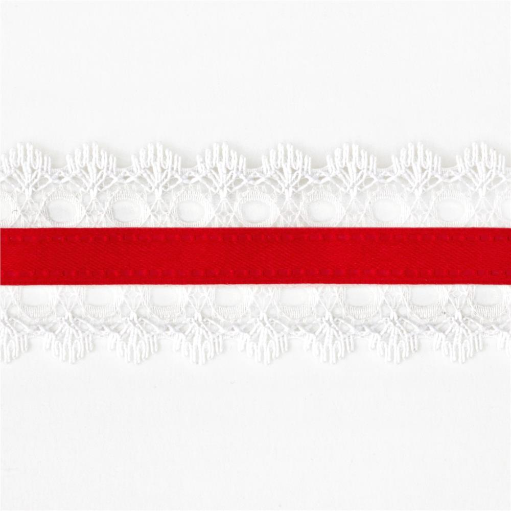 "1 1/2"" White Lace Satin Center Ribbon Red"