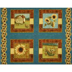 Sunflower Farm Pillow Panel Blue/Yellow