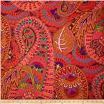 0296386 Kaffe Fassett Cotton Sateen Belle Epoche Red