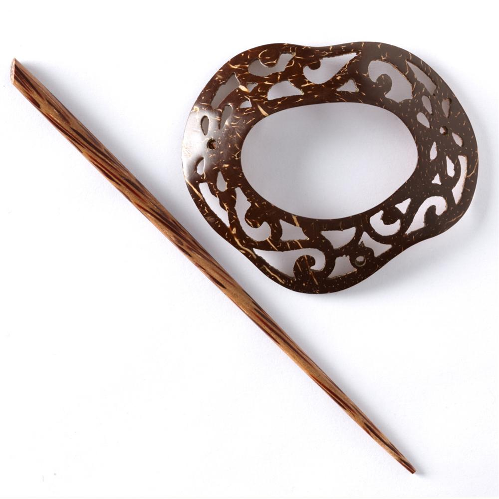 Shawl Pin Coconut Scrolled Freeform