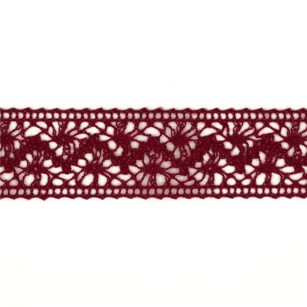 "1 1/2"" Crochet Lace Ribbon Burgundy"