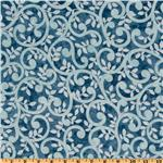 EU-277 Normandy Court 108&quot; Quilt Backing Scrolling Vines Light Blue/Blue