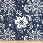 Caymans Indoor/Outdoor Blossom Vine Navy