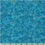 Timeless Treasures Shimmer Petals Gold/Turquoise