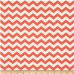 Nested Owls Chevron Stripe Coral/Ivory
