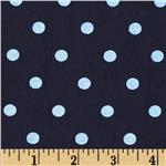 0280962 Designer Stretch Jersey Knit Polka Dots Navy/Light Blue