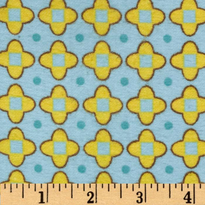 Transportation Flannel Nursery Metal Grid Aqua