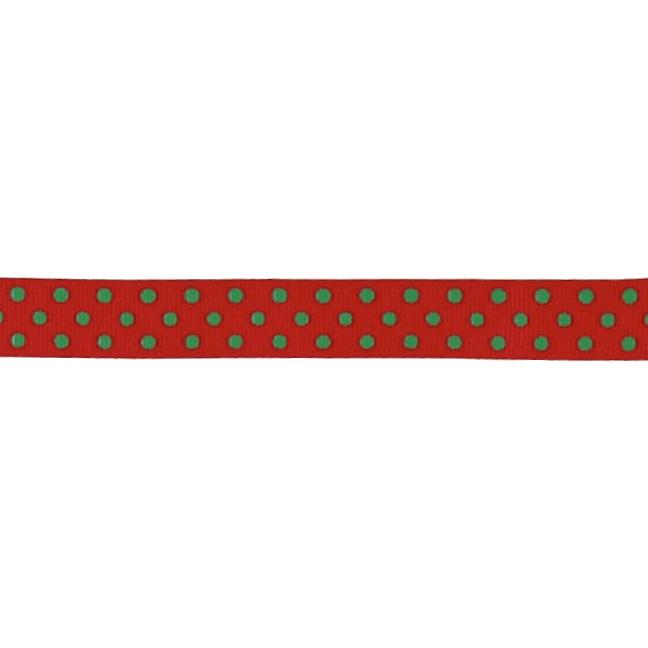 "5/8"" Grosgrain Ribbon Polka Dots Red/Green"
