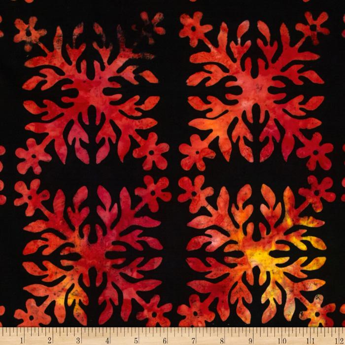 Bali Batiks Square Leaf Black/Red